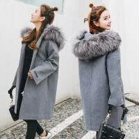 毛呢大衣女中长款加厚时尚秋冬新款蝙蝠袖连帽大毛领呢子外套 灰色加棉加厚W51