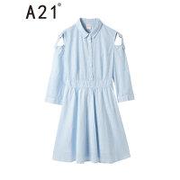 A21以纯线上品牌 2018春装新品女装连衣裙春露肩翻领七分袖中腰长裙4812195002