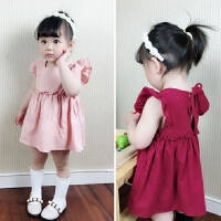 春夏飞袖宝宝娃娃衫中长款韩版甜美女童裙衫纯棉短袖幼儿公主上衣