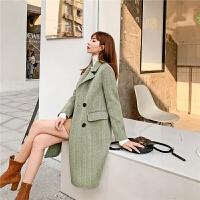 七格格毛呢外套女中长款2019新款秋冬季厚款韩版宽松羊毛呢子大衣