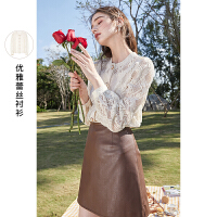 三彩2021春季新款优雅蕾丝衬衫圆领泡泡袖上衣女直筒显瘦