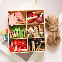 可爱木盒套装相册拍立得明信片照片夹子麻绳爱心木头木夹子