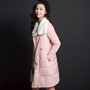 七格格冬新款 韩版加厚暗扣直筒高领中长款棉服女CX577