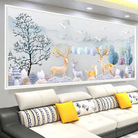 贴钻十字绣钻石画发财路2018新款现代简约客厅卧室背景墙满钻石绣