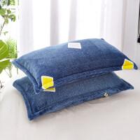 一对拍2)法兰绒枕套4874cm冬季保暖加厚珊瑚绒枕头套学生宿舍 48cmX74cm