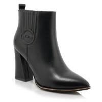 新款尖头真皮短靴粗跟高跟马丁靴裸靴防水台侧拉链女鞋