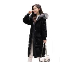 冬韩版加肥加大码羽绒服女中长款大毛领胖mm大码女装200斤 厚 S 95-105斤