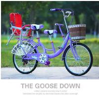 24寸单速22寸变速自行车子车母子车双人双座男女式接送带小孩车