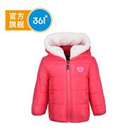 361度正品冬季简洁公主风小女孩连帽外套御寒保暖 时尚休闲女小童短