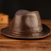 冬季真皮帽子男士牛皮礼帽 中老年人户外皮帽子爵士帽绅士牛仔帽