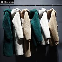 新款羊剪绒皮草外套中长款女皮毛一体羊羔毛带帽大衣冬