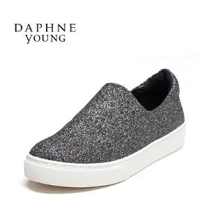 Daphne/达芙妮 简约厚底乐福鞋平底女单鞋15 404033