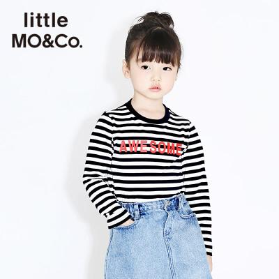 littlemoco春季新品儿童条纹打底衫撞色slogan圆领长袖纯棉T恤 经典条纹 撞色slogan