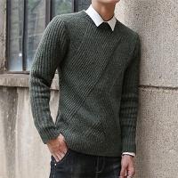 2017秋冬新款男士针织衫韩版男式纯色毛衣个性提花长袖圆领针织衫