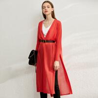 【到手价:154元】Amii极简法式慵懒风针织外套女2020春季新款宽松V领开衩中长开衫
