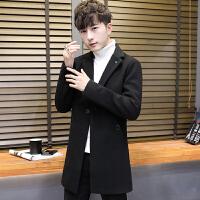 男士风衣秋冬季新款中长款大衣男韩版潮流青少年修身帅气呢子外套 9黑色 5/M