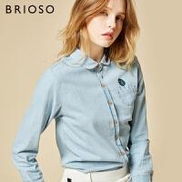 BRIOSO牛仔衬衫 女长袖上衣春装新款学生刺绣牛仔衬衣韩范宽松印花上衣 WE20595