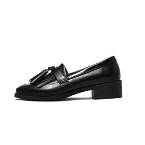 O'SHELL法国欧希尔新品020-a36日系超纤皮低跟流苏女士单鞋