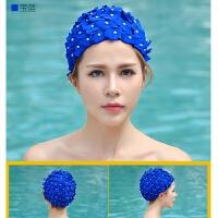 甜美可爱时尚温泉泳帽花瓣长短发游泳帽女立体花朵大码泳衣泳帽