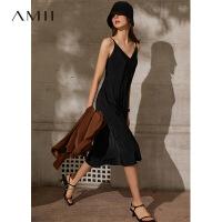 Amii法式气质缎面雪纺连衣裙2021春夏新款裙子V领内搭吊带裙女潮\预售8月2日发货