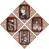 客厅浮雕画中式装饰画餐厅玉雕画走廊玄关立体挂画玉石镂空三联画沙发背景墙壁画 对角线尺寸65*65CM