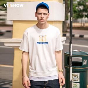 viishow2017短袖男潮T恤夏季圆领修身纯棉体恤半截袖印花男士t恤