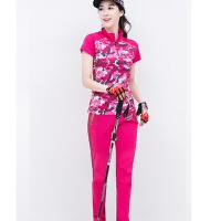 户外登山运动服女套装夏季t恤薄款徒步透气速干衣裤女装套装短袖 迷彩红+玫红 05款