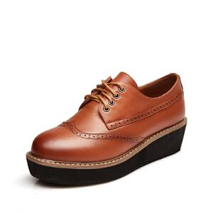 富贵鸟踝靴 头层牛皮女士系带满口鞋 舒适英伦休闲女鞋