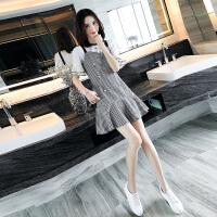 【618大促-每满100减50】欧洲站夏装新款女装显瘦学院风连衣裙格子温柔风两件套装