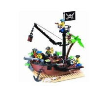儿童益智创意拼插拼装玩具 启蒙306破船坞海盗船海盗系列