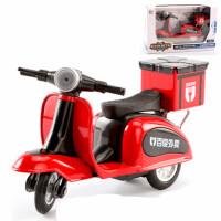 外卖车摆件合金回力车小摩托车迷你小绵羊带尾箱模型玩具踏板