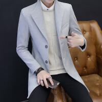 男士风衣2017新款冬季韩版修身中长款毛呢大衣潮流帅气呢子外套男