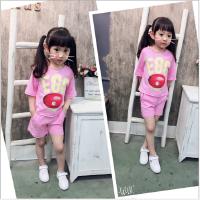 女童套装夏季新款潮款中小童印花字母圆领短袖T恤+短裤套
