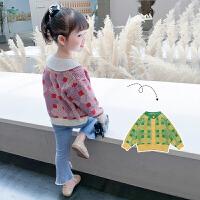 女童针织衫开衫2021新款秋装儿童韩版格子毛衣外套中小童装洋气潮