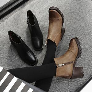 毅雅2017秋冬新款短靴中跟英伦风女马丁靴粗跟防水台复古侧拉链裸靴YM7WO5697