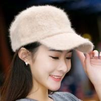 韩版秋冬天女士可爱兔毛纯色鸭舌帽韩冬季保暖针织毛线棒球帽子