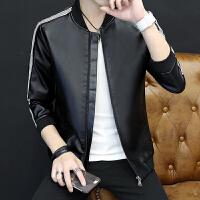新款修身韩版立领青年男士外套潮流机车PU皮飞行员夹克男上衣