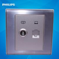 飞利浦墙壁面板插座86型金属系列香槟金Q8 801TV-PC电视/电脑插座