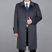 中老年男士羊毛呢大衣秋冬加厚中年男长款羊绒大衣爸爸装风衣外套 灰色 170/M