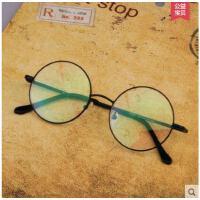 清新文艺时尚复古正圆形平光变色眼镜架近视眼镜男防辐射眼镜框女防蓝光护目镜
