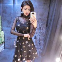 亮丝长袖打底衫+吊带星星刺绣收腰连衣裙套装约百搭紧身女款裙