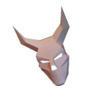 半脸恶魔鬼面具带角骷髅纸模diy恐怖万圣圣诞节化妆假面舞会派对