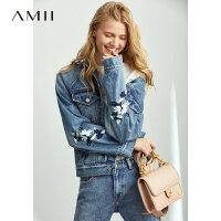 【到手价:272元】Amii极简时尚休闲短款牛仔外套女2019秋季新款宽松做旧绣花夹克潮