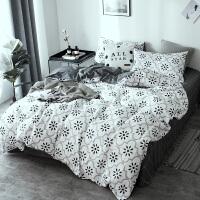 北欧床上四件套棉水洗床单被套双人棉套件学生单人三件套