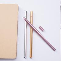 韩国文具 金属手感中性笔创意水性笔 黑色签字笔办公用品