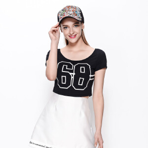 zdorzi卓多姿2017夏装新款纯色字母印花超短修身短袖T恤女732030