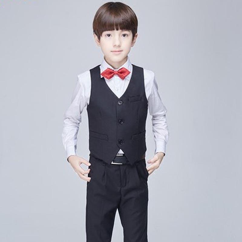 花童礼服男童马甲套装宝宝演出服男童主持钢琴演出服春 黑色四件套
