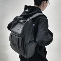 时尚潮流双肩包男士商务休闲旅行电脑背包韩版高中大学生书包g 黑色