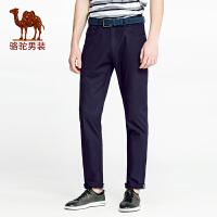 骆驼男装 2018春季新款简约休闲无弹中腰直筒裤纯色直筒小脚裤 男