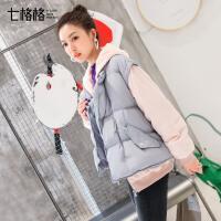 轻薄羽绒服女短款连帽撞色假两件2017冬装新款韩版学生时尚宽松潮
